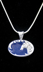 This Sterling Silver pendant features a horse head with a sliver of a moon and a trail of stars.  The dark blue enamel overlay gives depth.  Comes with a 20 inch  Sterling Silver snake chain.  Also see the match bracelet to create a beautiful gift set.