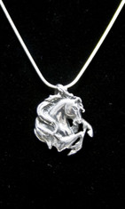 Beautiful detail in this Sterling Silver pendant.  This rearing stallion is as beautiful as he is fierce.  Comes with an 18 inch Sterling Silver snake chain.  Pendant is over 3/4 inch wide and 1 inch tall.