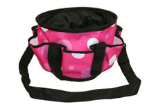 "PINK, PINK, PINK Polka Dots make this all pupose barn or grooming tote fun.  Handy caddy has many uses, sewing, crafts, scrapbooking, as well as barn uses.  Features include;      1200 denier tough outer shell.     Fully lined on the inside with smooth nylon lining     6 exterior pockets     Black webbing handles and trim     Remove able, adjustable, black webbing shoulder strap     4 plastic 1/4"" ""feet"" on bottom of tote     12"" long, 7 1/4"" tall"