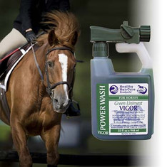 A wonderful aromatic- invigorating liniment. Contains Green Soap, Oil of Sassafras, Oil of Wintergreen, Oil of Cedarwood, Oil of Rosemary, Oil of Thyme, and Juniper Oil.  Healthy HairCare Vigor Power Wash™Cleans & Invigorates at the same time. A Powerful, Easy To Use Spray System. Wash & Rinse At The Turn Of A Switch! Our sprayer delivery system draws and delivers at a preset dilution ratio for A Perfect Wash Every Time!  Wash Bucket and Sponge Not Needed. No Waste, No Mess, Less Work, Safer For the Environment, Easier. More Economical. 8 - 16 Washes per 32 oz. Gallon Refill up to 64 washes Also available in a 16 oz. & 32 oz.liniment size.  Available Sizes: 32 oz. Wash System