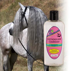 Silverado Detangler™ - A high grade blend of conditions, penetrate even the most dry, brittle, tangled manes & tails, leaving them soft, shiny and tangle-free.  Silverado Detangler™ with added Sun Block Protection. UV-A & UV-B blockers protect and prevent manes and tails from bleaching & breaking caused by sun damage.  Silverado Detangler™ is concentrated lasts, for days, repels dirt and dust, controls static.  Easy To Use. 8 oz. Dispensing Bottle.