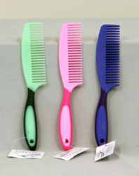 Two tone colors makes this comb fun and easy to find in your grooming kit.  Matches several of our other accessories.   Measures 9.5 inches long.