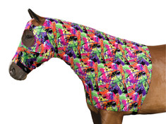 "Shown in our Neon Splash Print The Sleazy Sleepwear for Horses Lycra stretch hood is the original horse pajamas.  Now with larger Eye Holes!! The ""Seamless Face"" design of the Sleazy hood eliminates any seams below the eyes for maximum safety. So versatile this mane tamer can of course train the mane, but it also makes a wonderful liner to use under heavy winter blankets.  The perfect thing to have in your show or tack box the Sleazy hood is great to protect braids and keep your horses face, forelock, and mane clean between classes while at a Show.  The Sleazy hood can also protect the horses hair from sun damage.  The only trouble might be choosing which of the fun prints to have your horses Sleazy hood in.   The features of the Sleazy Sleepwear Hoods are;      •Generously sized patterns.     •4-way stretch, premium, fabrics, Nylon or Polyester Spandex.     •Large eye holes and ear holes.     •Wide, adjustable, fleece lined, nose band.     •Fully separating high quality, reliable, Zipper option.                                                                 •All closures use a special, low profile, high strength, hook & loop fastener, for maximum strength, reliability, and ease of use.     •Fully finished hems with encased elastic for durability, and heavy duty, fully hemmed, girth elastic.  Sleazy Stretch Hoods come in 7 sizes that will help get the best fit for all your Ponies or Horses. These mane tamers have the option of a full separating zipper from chin to chest. Zipper option is an additional fee."