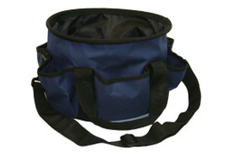 "Navy with Black trim barn or grooming tote is made from 1200 denier poly.  Handy caddy has many uses, sewing, crafts, scapbooking, as well as barn uses.  Features include;  1200 denier tough outer shell 6 exterior pockets Fully lined on the inside with smooth nylon lining Black webbing handles and trim Removeable, adjustable, black webbing shoulder strap 4 plastic 1/4"" ""feet"" on bottom of tote 12"" long, 7 1/4"" tall"