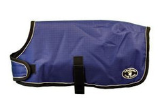 "Dark Purple Windhorse Dog Coats are the perfect way to keep your dog warm and dry. These coats are constructed with a premium quality medium denier waterproof, windproof, and breathable polyester canvas outer shell. The lining is made with a soft poly 70 denier lining. They feature a seamless back design and contoured fit.  Application is simple and secure using a wide velcro closure in front with generous adjustability, and an elastic belly strap with an adjustable slide  and velcro closure.  With 6 sizes to choose from, you will be sure to find the right one for your favorite Dog.  Sizes XXS - MED allows the use of a harness with a ""Button Hole"" design.  For added safety, these coats feature a reflective stitching sewn into the black binding.  An embroidered Windhorse logo patch is on the left hind leg panel."