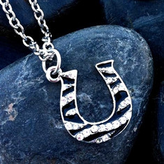 """Wyo-Horse brings us this fun and dazzling Rhinestone Zebra Horseshoe Pendant and chain.  Chain measures 16"""" long with a 2"""" extender. Horseshoe charm measures 3/4"""" tall, all lead free, nickel free, hypo-allergenic.  Add some sparkle and fun to your wardrobe.  Pair this necklace with the matching earrings for a knockout set."""