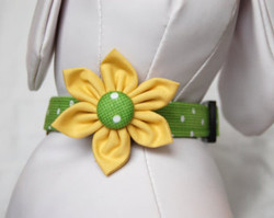 """Green Polka Dots Chasin' Tail Flower attached to matching Collar  Chasin' Tail Doggie Designs are special handmade creations.  Each piece is made by hand, with care, in Boring Oregon.  Chasin' Tail Flowers are fun and attractive collar accessories.  These Flowers are available in 3 sizes and attached to your Chasin' Tail collar or any other collar with hook and loop attachments.  Flowers are made from a washable fabric.  Gently wash and hang to dry.  Chasin' Tail dog collar Flower accesories can be ironed with a cool iron to remove wrinkles if they should appear.  Chasin' Tail Flowers come in the following sizes,  SM - measures approx. 2"""" across  Med - measures 2 1/2"""" across  LG - measures 3"""" across   Chasin' Tail also offers matching handmade leashes, collars, and other accessories like Bow Ties to dress up any collar.  Look for them to order and complete your pet's special look."""