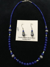 Beautiful Genuine Indian Handcrafted Sterling Silver Jewelry.  This necklace and earring set was made by hand and features beautiful blue Lapis and Opal beads with Sterling Silver accents.   The dangle earrings measure almost 1 inch in length and necklace measures 18 inches long.