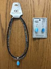 "Another winner from Cowboy Collectibles!  Cabochon Necklace with authentic Horse Hair and beads and matching earrings. cab·o·chon ˈkabəˌSHän noun: cabochon; plural noun: cabochons meaning - a gem polished but not faceted         These stunning horse hair necklaces are 18"" long, have a lobster claw closure, feature a stone cabochon with coordinating beads.  Matching earrings feature hypo-allergenic posts.     Add a coordinating beaded wrap bracelet to complete the look.    Handmade in Montana USA"