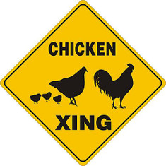 "Chicken Xing / 12""x12"" Yellow & Blk"