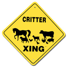 "Critter Barnyard Xing / 12""x12"" / Yellow & Black"