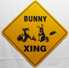 "Bunny Xing / 12""x12"" / Yellow & Black"