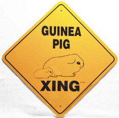 "Guinea Pig Xing Sign / 12""x 12"" / Yellow & Black"