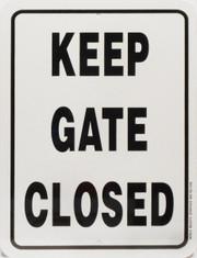 "Keep Gate Closed / 9""x12"" / Wht & Blk"