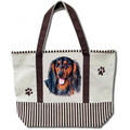 Longhaired Black/tan Canvas Tote