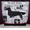 Longhaired Dachshund Newsprint Handbag Front View