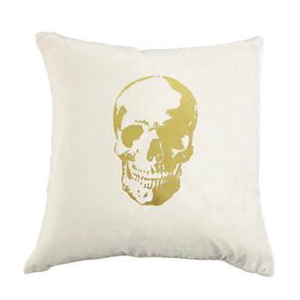 Snow/Gold Velvet Skull Pillow