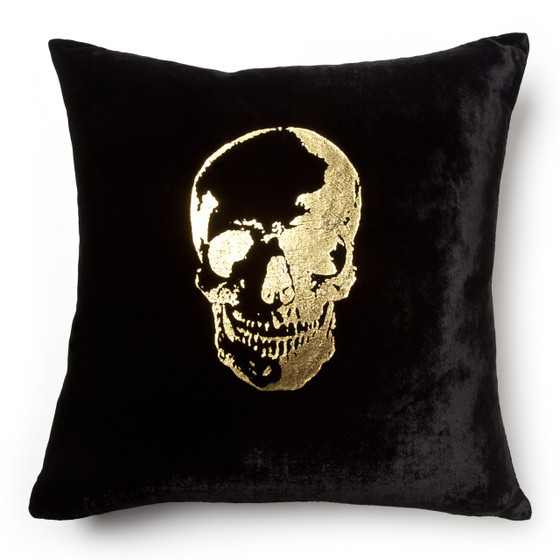Black Gold Velvet Skull Pillow Maison 24