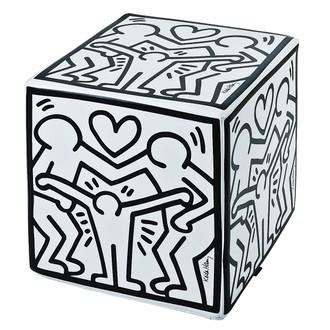 Keith Haring Happy Family White Ottoman