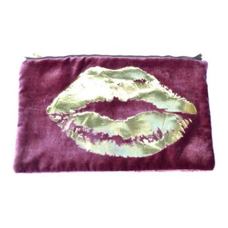 Berry/Gold Velvet Lips Pouch