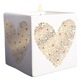 Keith Haring Square Candle, Gold Heart
