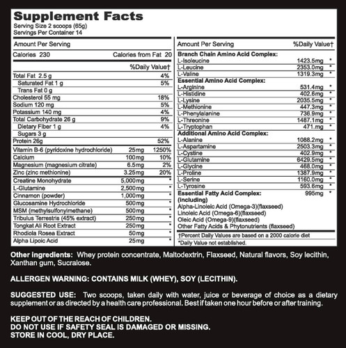 Kick Ass - Supplement Facts