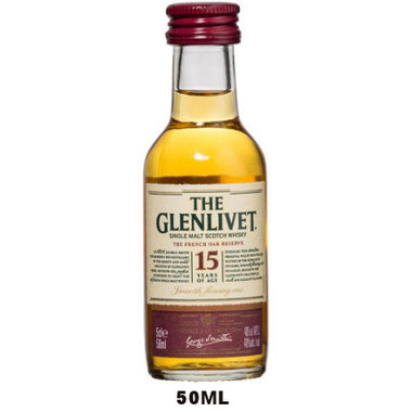 50ml Mini The Glenlivet 15 Year Old French Oak Speyside Single Malt Scotch