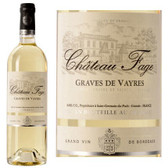 Chateau Fage Graves de Vayres Bordeaux Blanc 2016