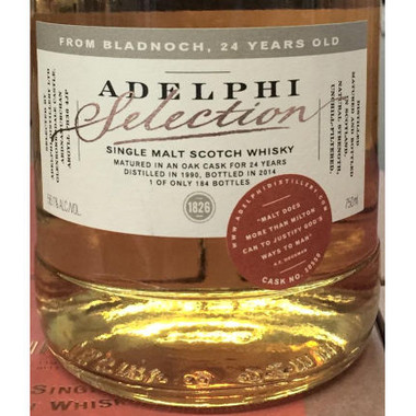Adelphi Selection Bladnoch 24 Year Old 1990 Single Cask Malt Scotch 750ml