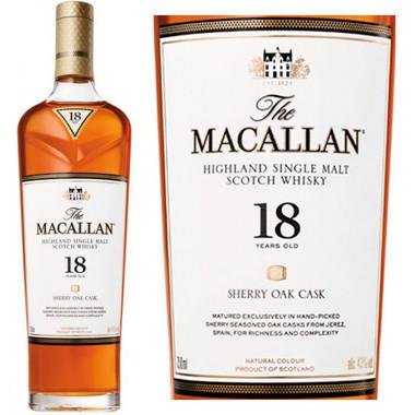Macallan 18 Year Old Sherry Cask Highland Single Malt Scotch 750ml