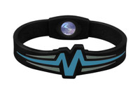 "Mojo-Raptor Wristband 7"" Black with Blue & Grey"
