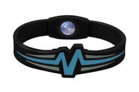 """Mojo-Raptor Wristband 7"""" Black with Blue & Grey"""