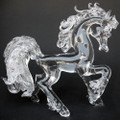 Hand Blown Glass Horse Prancing Crystal