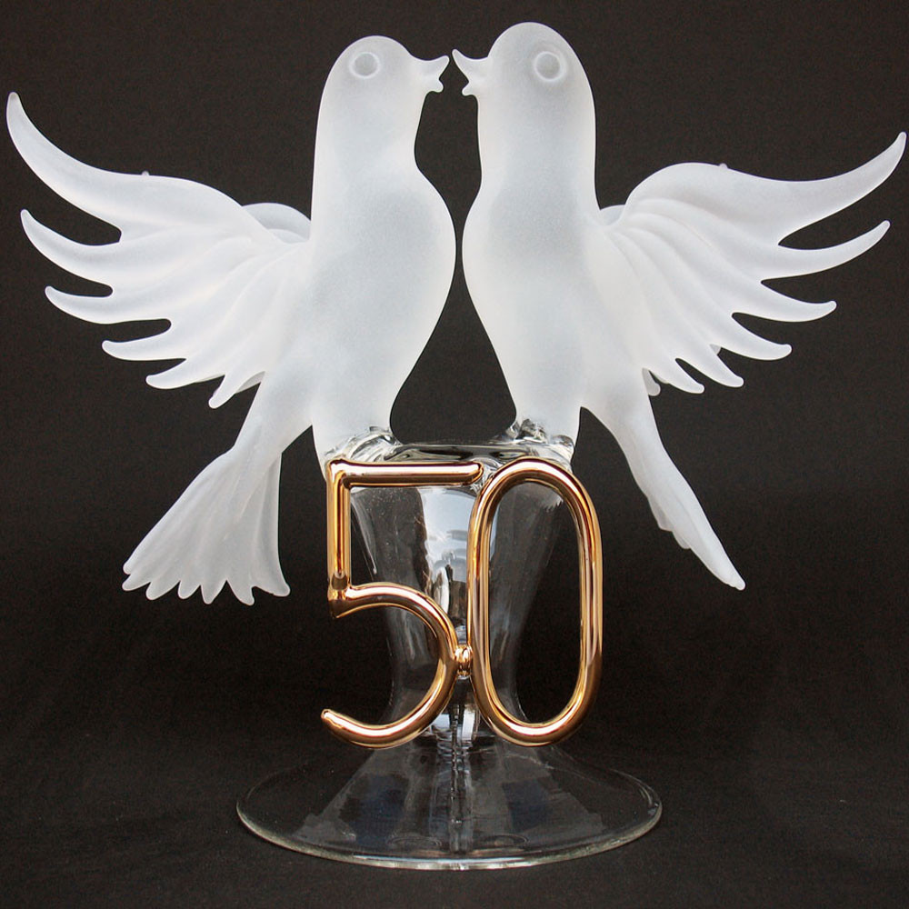50th anniversary blown glass wedding cake topper white doves prochaska gallery - Th anniversary cake decorations ...