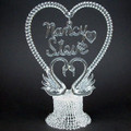 Personalized Glass Swans Wedding Cake Topper