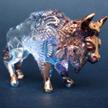 Hand Blown Glass Bison Figurine Buffalo Sculpture