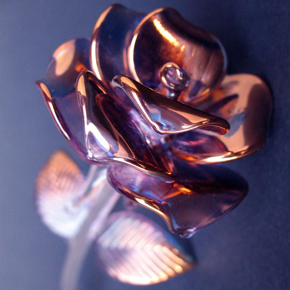 hand blown glass anniversary rose figurine