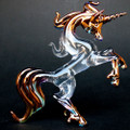 Hand Blown Glass Unicorn Rearing