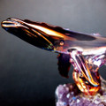 Hand Blown Glass Whale on Amethyst Crystal