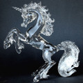 Hand Blown Glass Unicorn Crystal Sculpture Rearing