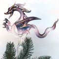 Dragon Christmas Tree Topper Hand Blown Glass Ornament