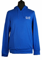 EA7 Emporio Armani Hooded small logo sweat shirt Mens Designer in Royal Blue