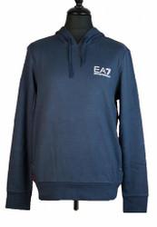 EA7 Emporio Armani Hooded small logo sweat shirt Mens Designer in Navy Blue