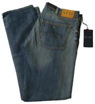 Armani AJ Jeans J45 Regular Fit Stone Wash Denim Blue Zip Fly 34 leg V6J45 6K