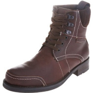 Duck and Cover Mens Leather Hiking Military Style Patch Boots DAC19134 Brown