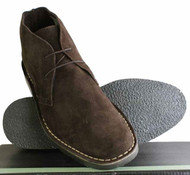 Roamers Real Suede Leather Mens Slim Slightly Rounded Toe Mod Desert BootsBrown