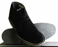 Roamers Real Suede Leather Mens Slim Slightly Rounded Toe Mod Desert Boots Black