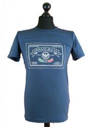 Armani AJ Jeans Mens 1980 Logo Print Extra slim Stretch T-Shirt Tee Cotton Blue