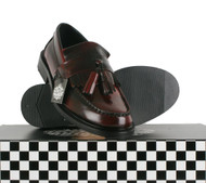 Ikon SELECTA Ladies Kids MOD Skinhead Polished Leather Tassle Loafers Oxblood