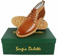 Sergio Duletti Orlando Mens Real Leather Brogues Ankle Lace Up Boots H1212 Tan